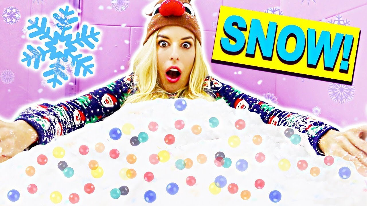 Giant Snow Bath Challenge + Orbeez Bath Challenge! (Truth or Dare, DIY Fluffy Cloud Slime, Yoga)