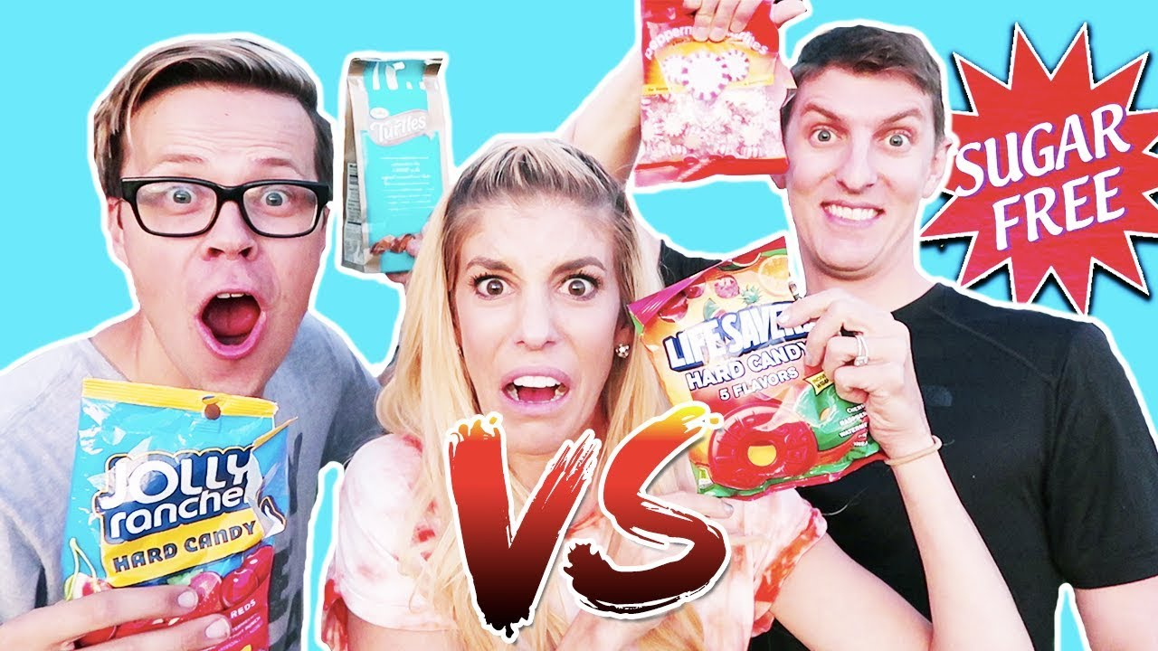 TRYING SUGAR FREE V.S REGULAR CANDY! Day 268 TESTING FOOD CHALLENGE
