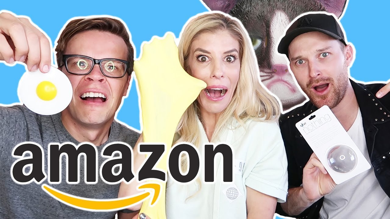 Testing Crazy Amazon Products (Stress Egg, Fluffy Slime, Nothing and Cat Mask)