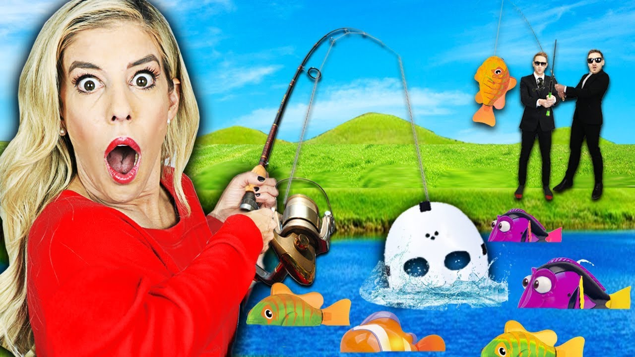 GIANT GONE FISHING Game in Real Life! (Found Game Master Clues in Backyard)   Rebecca Zamolo