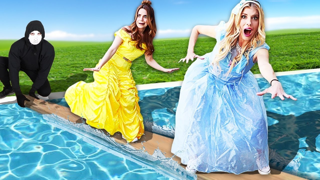 Last To Fall In The Pool Wins $10,000 or Game Master Clues! (Disney Princess Challenge)