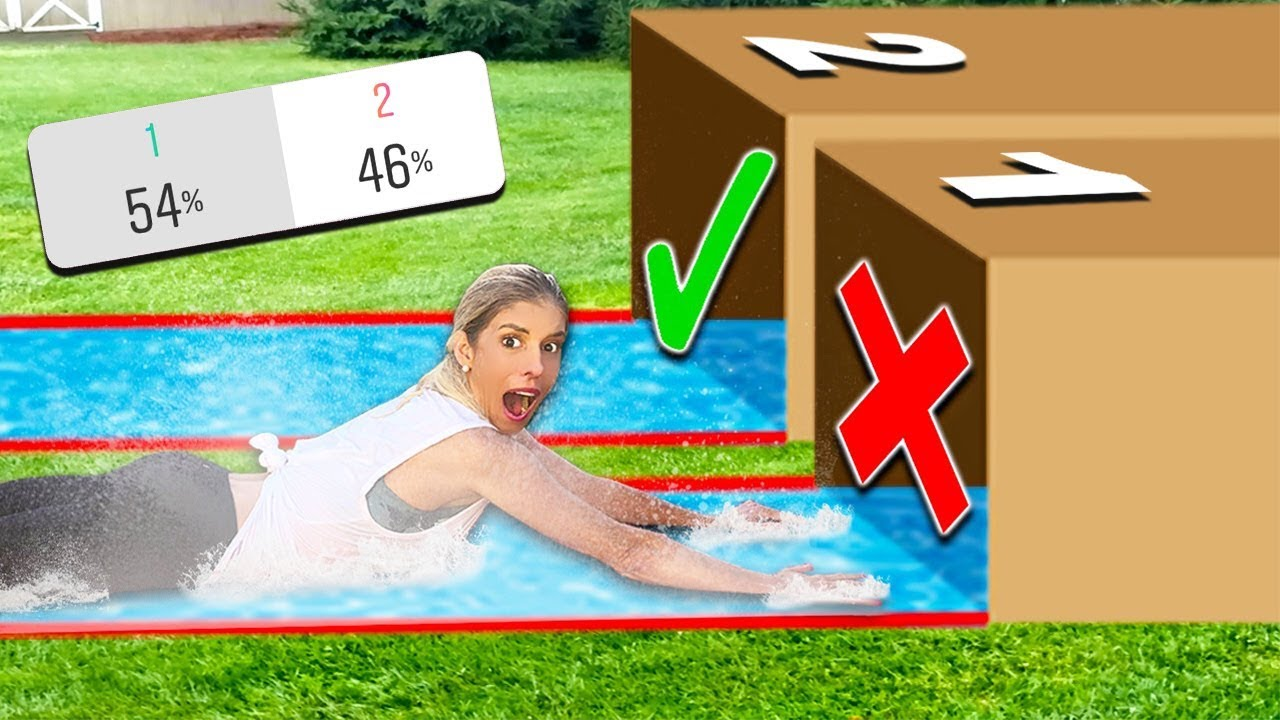 Try Not To Water Slide Through The Wrong MYSTERY BOX! (you decide)
