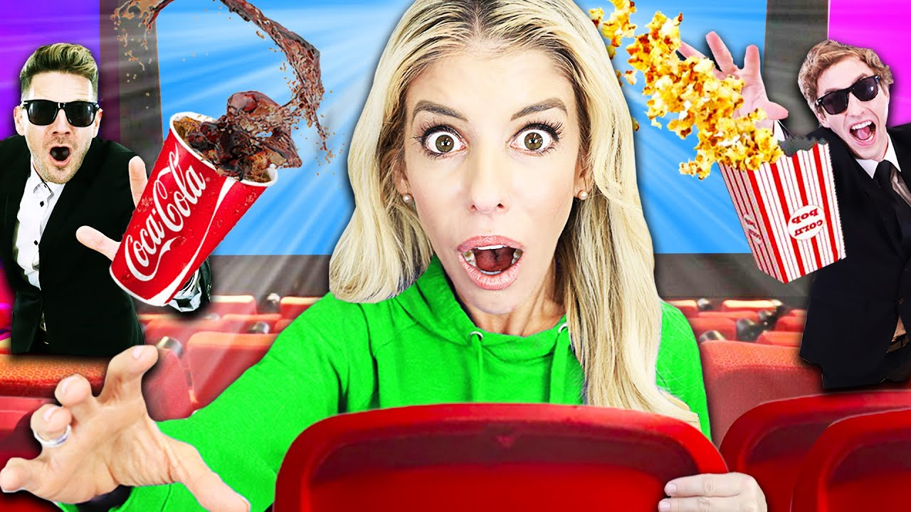 24 Hours Trapped with Best Friend inside  Movie Theater in Our New House!   Rebecca Zamolo