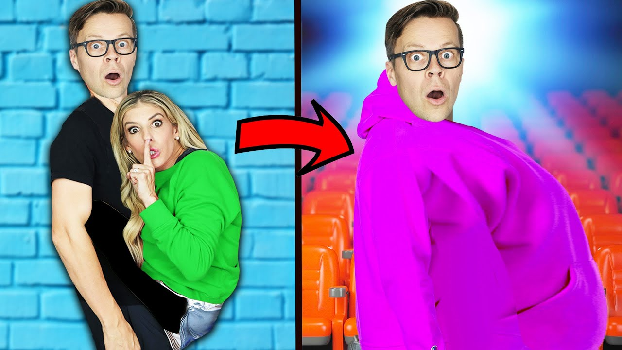 How To SNEAK Friends Anywhere!  Hot Vs Cold Challenge and Ways to Sneak Friends into the Movies!