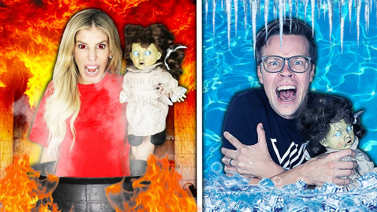 Hot vs Cold Creepy Doll Halloween Challenge! Girls on fire Vs Icy Boy!